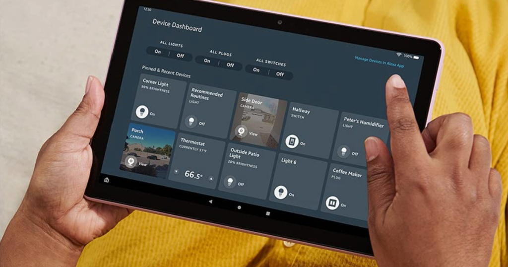 amazon fire HD tablet lavender in hands