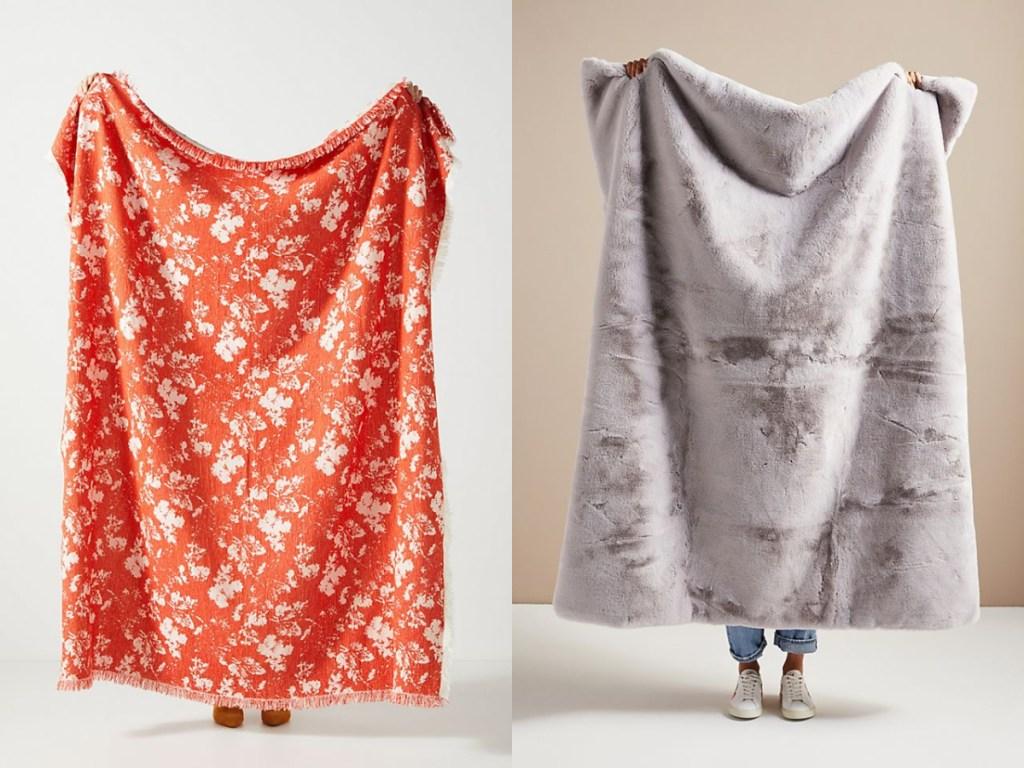 orange flower and gray blankets