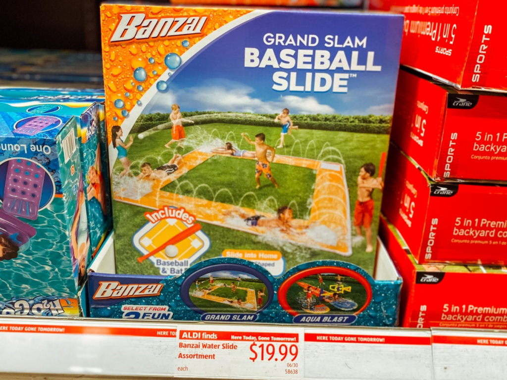store shelf with water slide on display