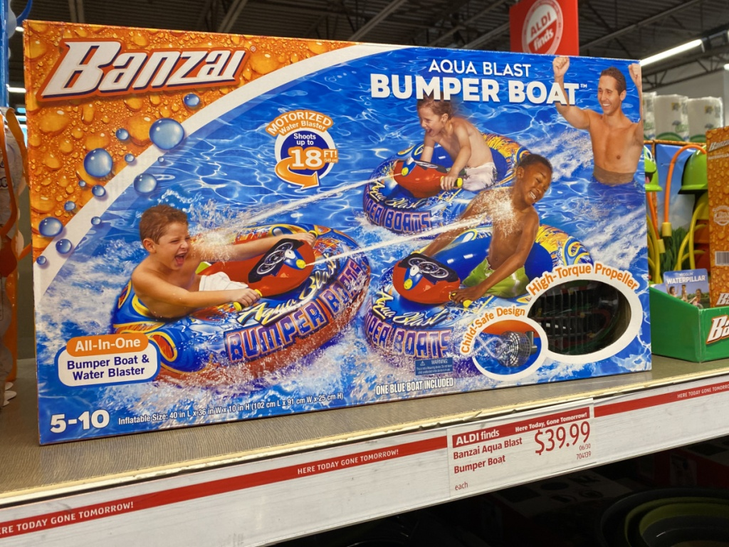 store shelf with box that has bumper boat toy in it