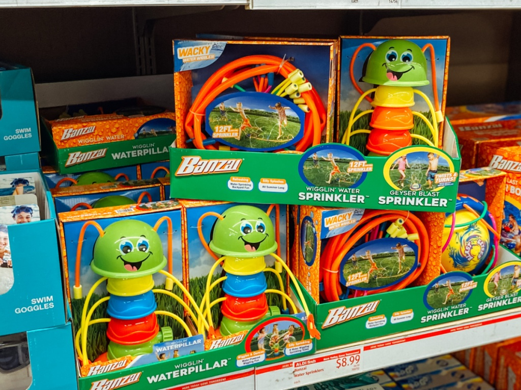 store display with water toys on shelf
