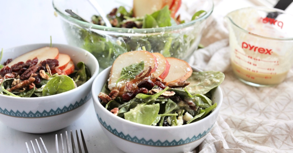 bowls of spinach salad