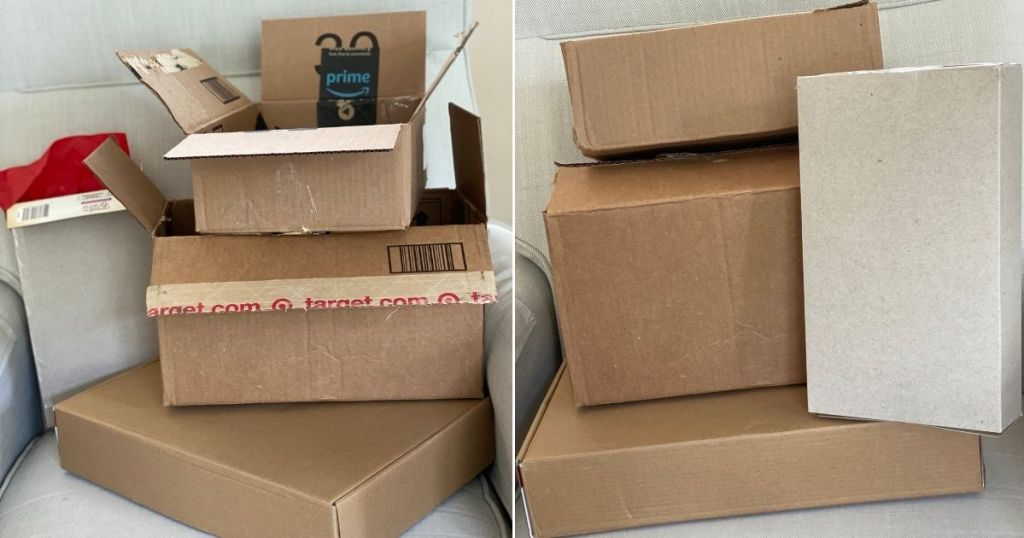 opened boxes and inside-out boxes side by side