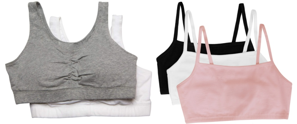 gray and white and black and white and pink bras