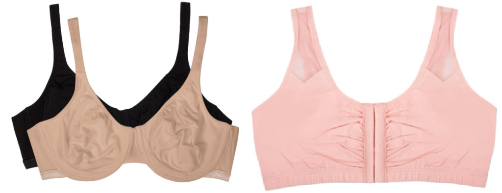 black and tan and pink bras