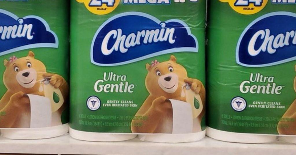 Charmin Mega Rolls Ultra Gentle on store shelf