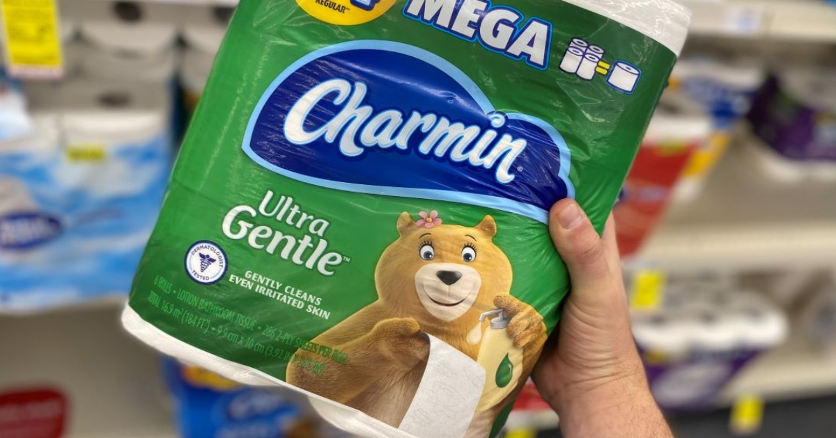 a hand holding a pack of charmin ultra gentle toilet paper