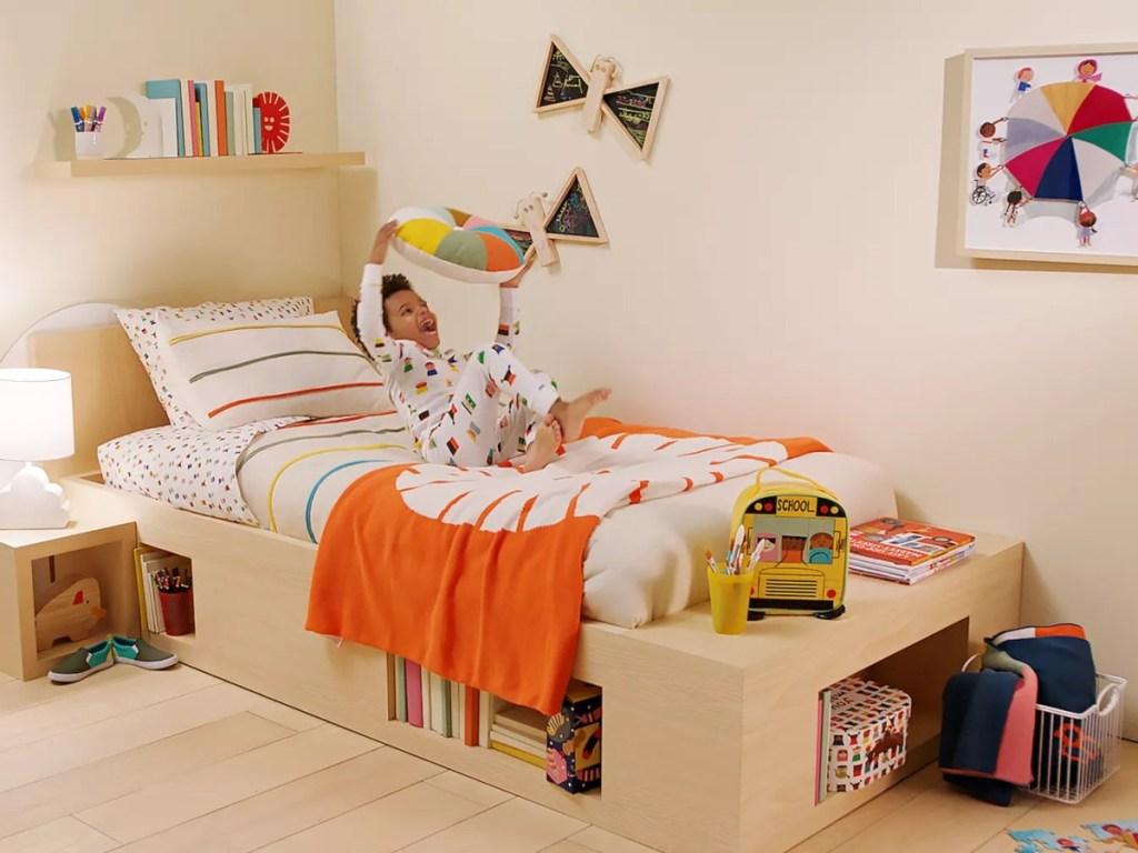 boy in colorful bedroom