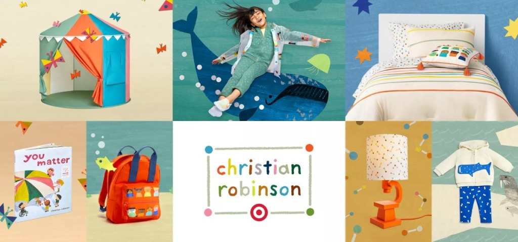 collage of Christian Robinson items at Target