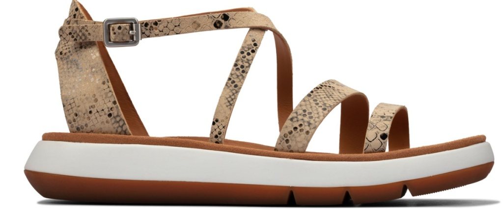 taupe snake sandals
