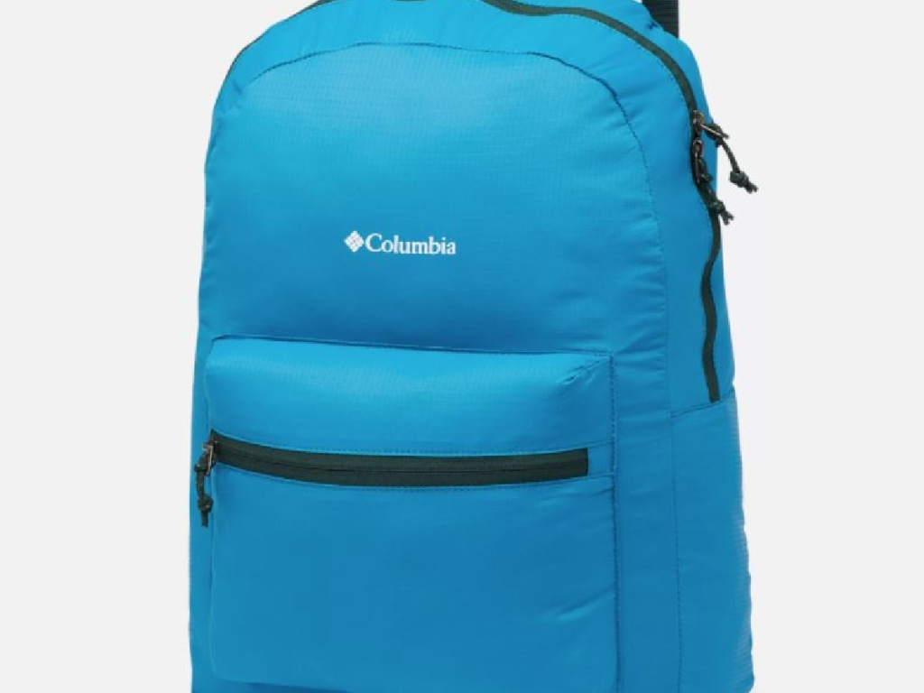 teal colored backpack with Columbia logo