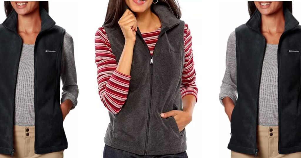 women wearing black and charcoal Columbia vests