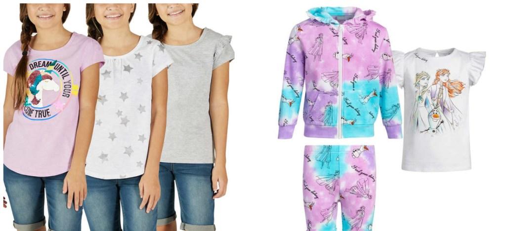 girls wearing unicorn tees and frozen 3-piece set