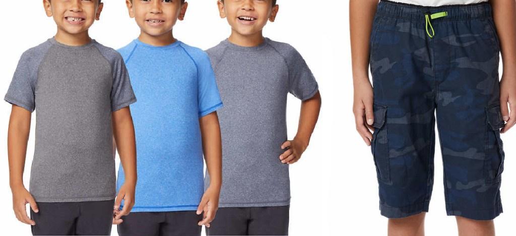 kids wearing short sleeve shirts and kid wearing camo shorts