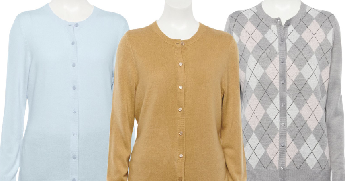 three stock images of cardigan sweaters