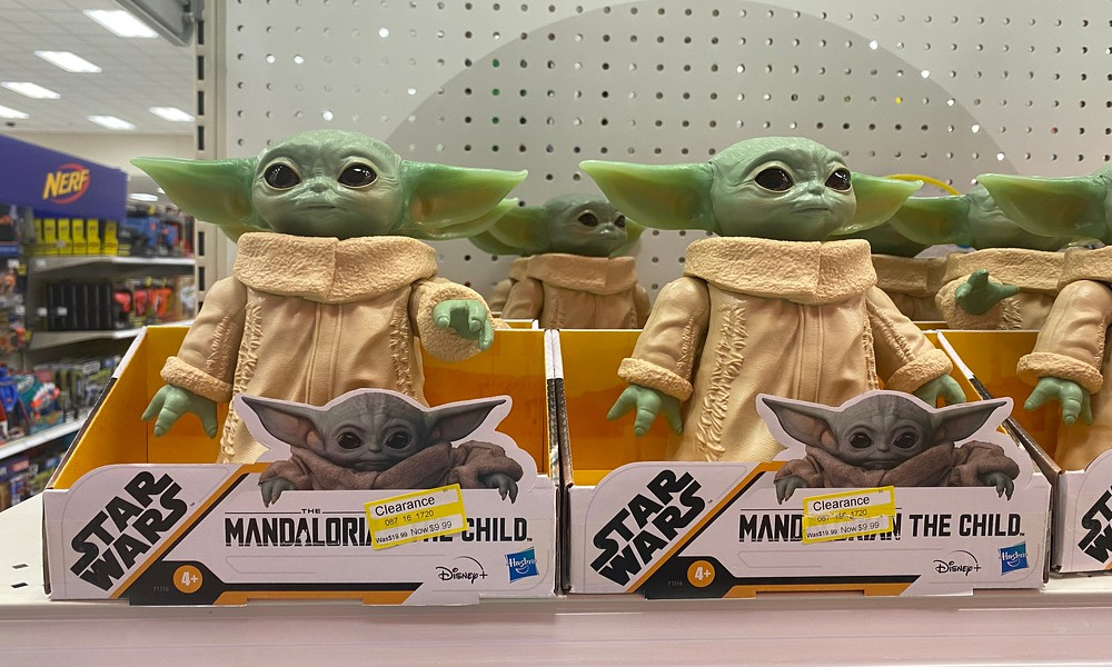 baby yoda the child hasbro toy on clearance in packaging on a target shelf
