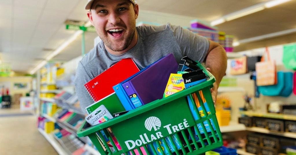 man holding dollar tree basket with school supplies