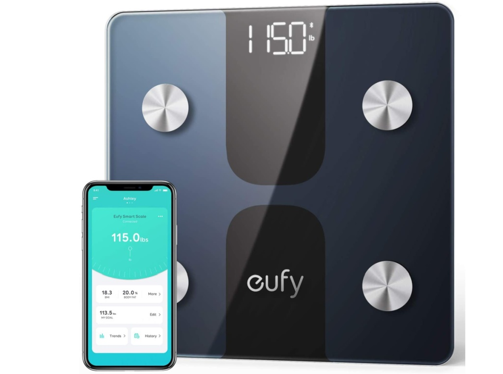 large smart scale near phone with open app