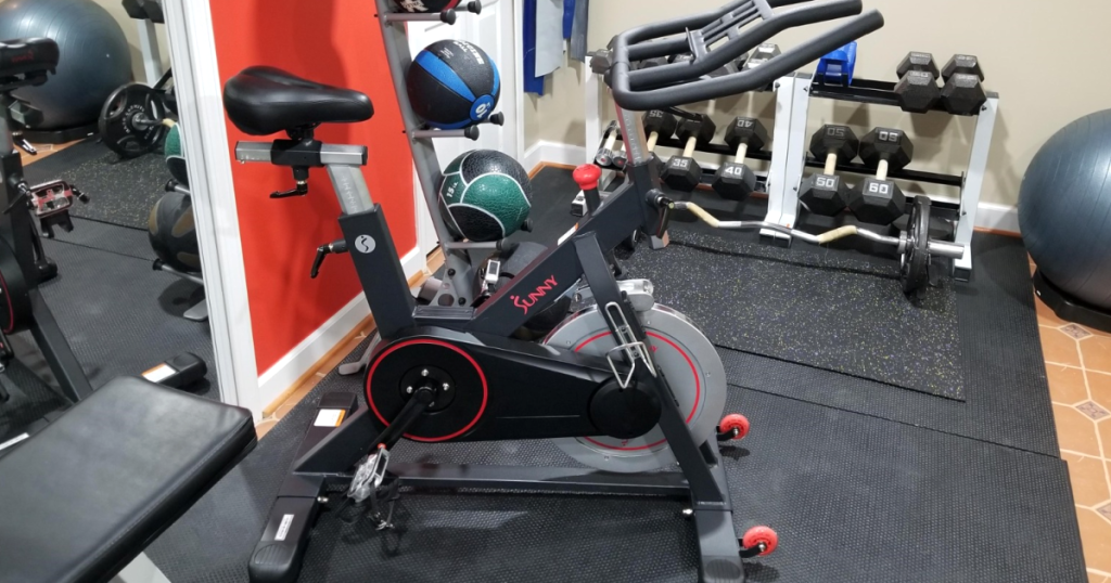 exercise bike in home gym
