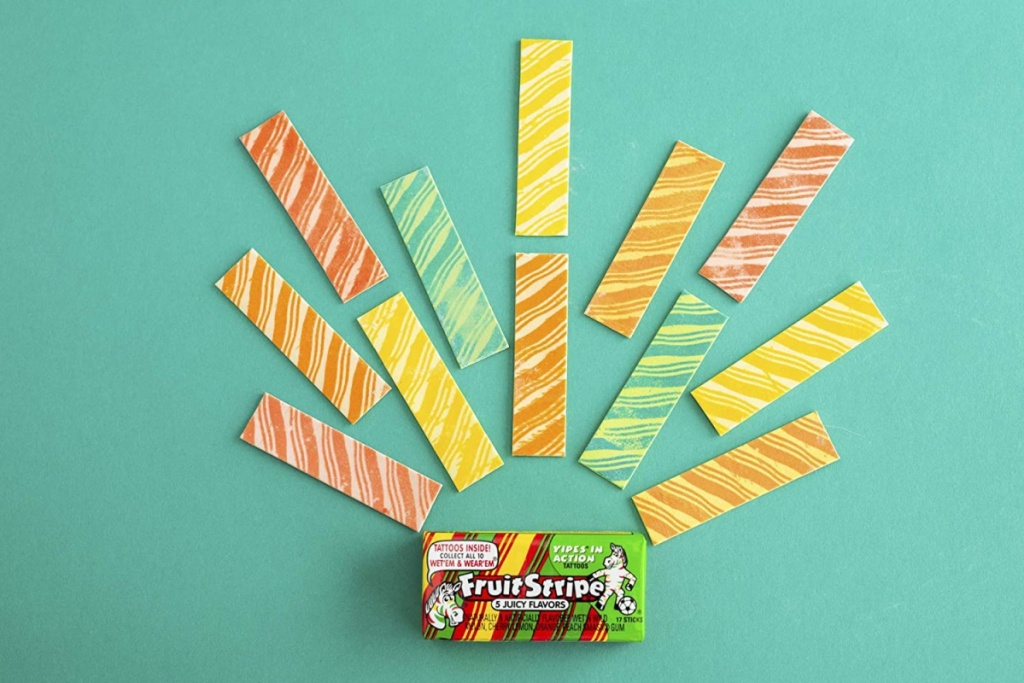 fruit stripe packaging with gum out