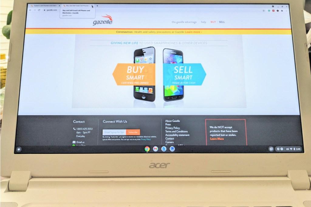 laptop screen with Gazelle website