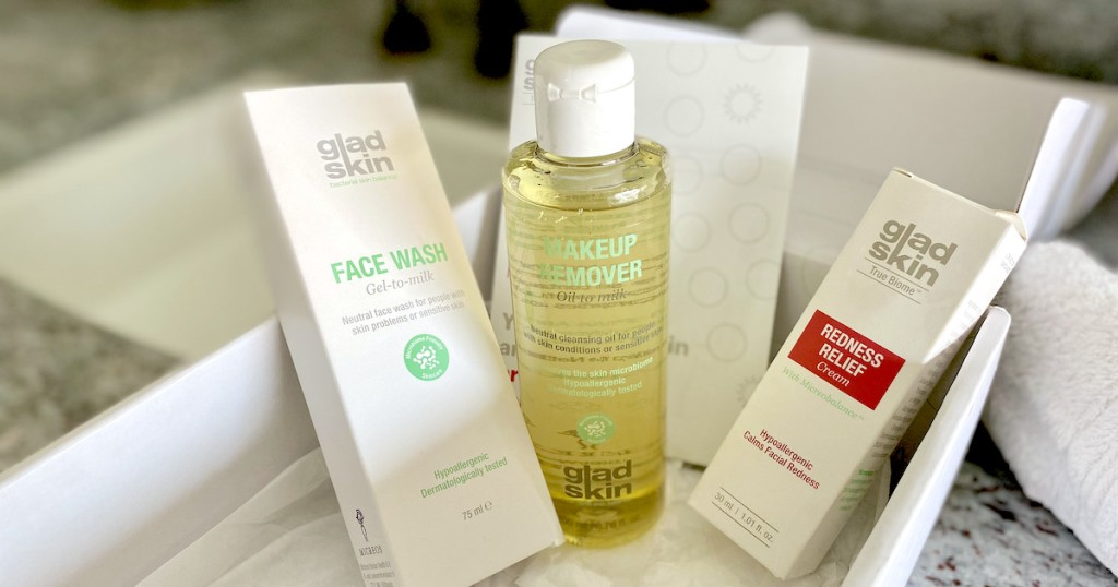 gladskin beauty products skincare for redness on white tray in bathroom