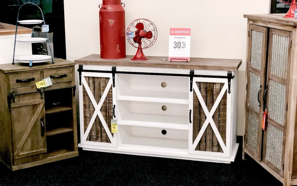 farmhouse style console table with sale sign on top
