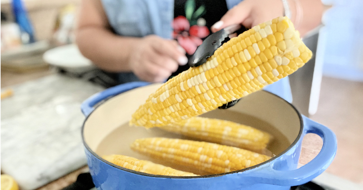 holding up corn on the cob over a pot