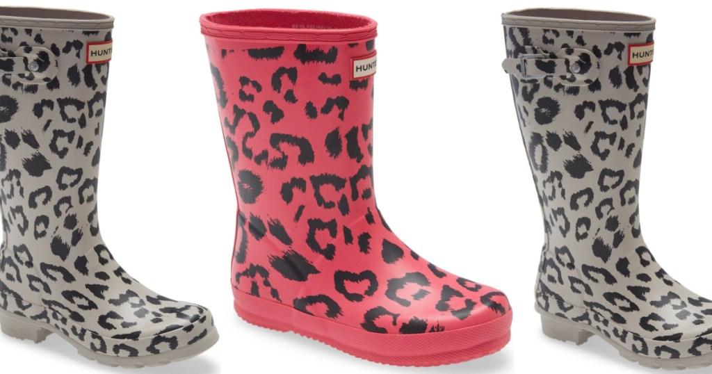 hunter rain boots pink and grey