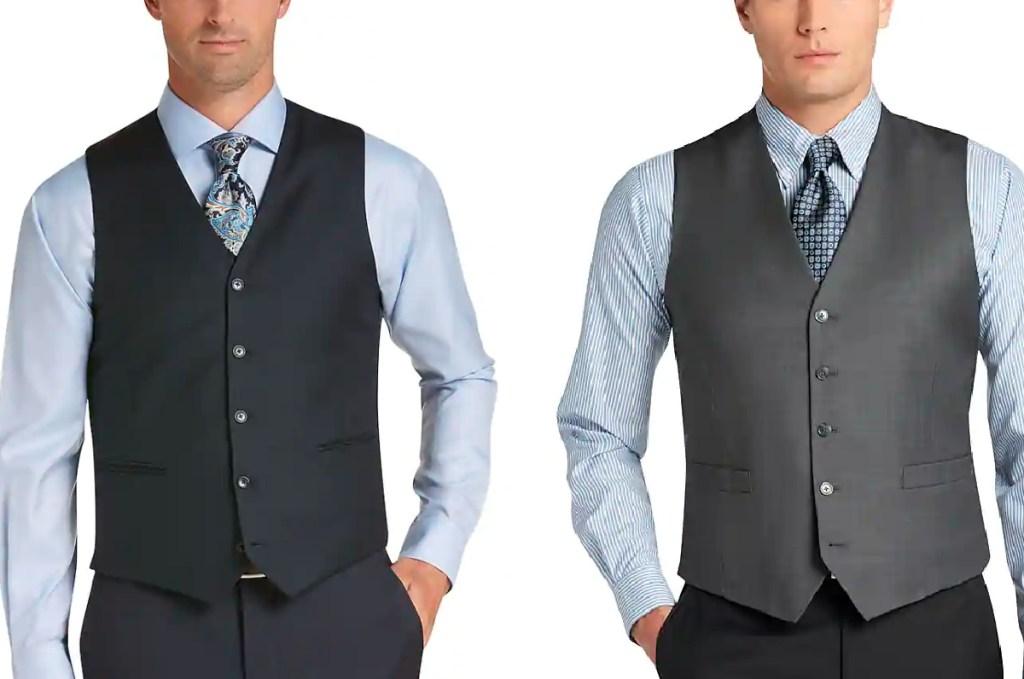 men wearing suit vest separates