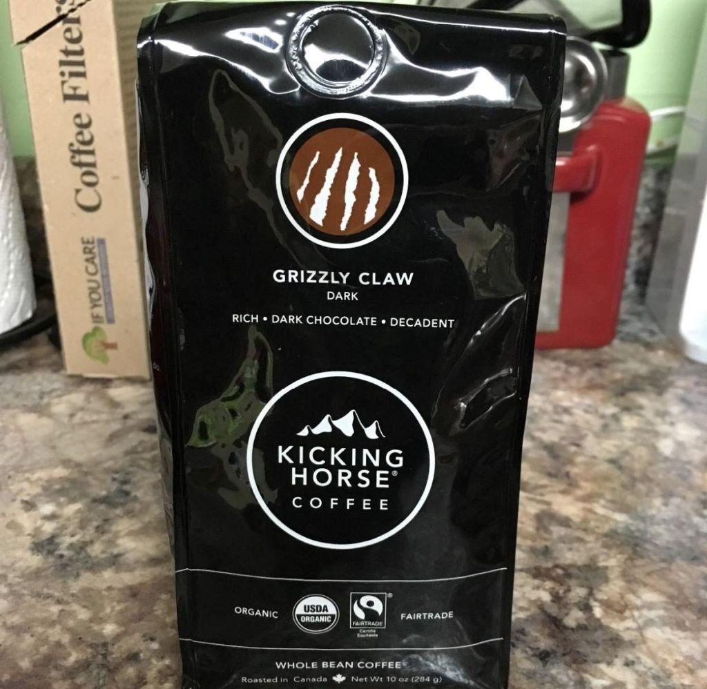 bag of kicking horse dark claw coffee