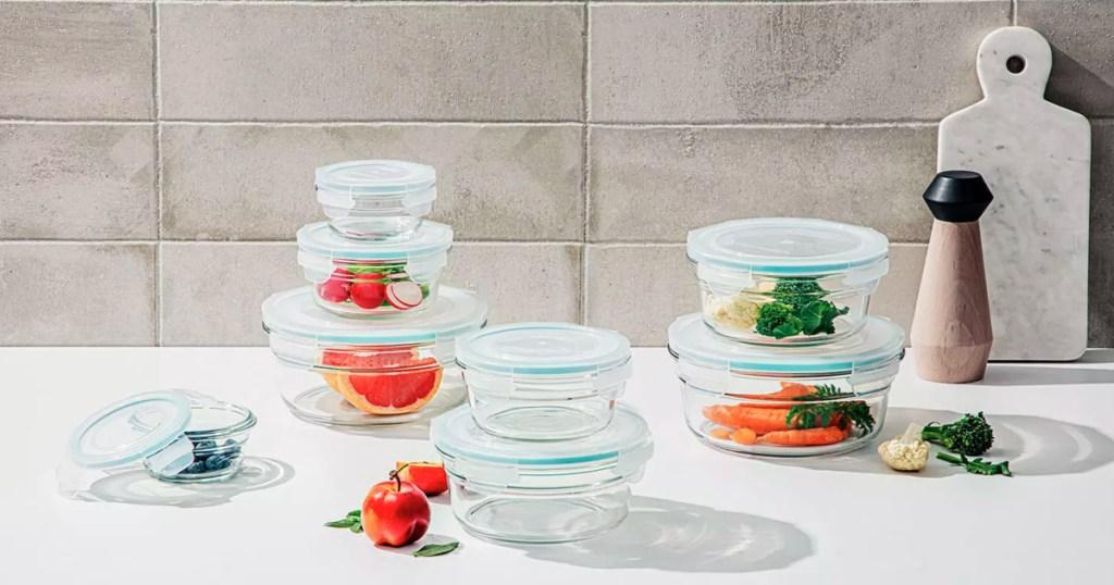 glass storage set on counter
