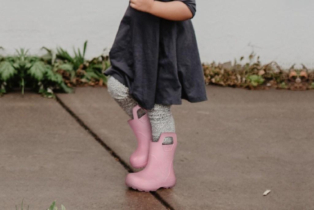 light pink rain boots