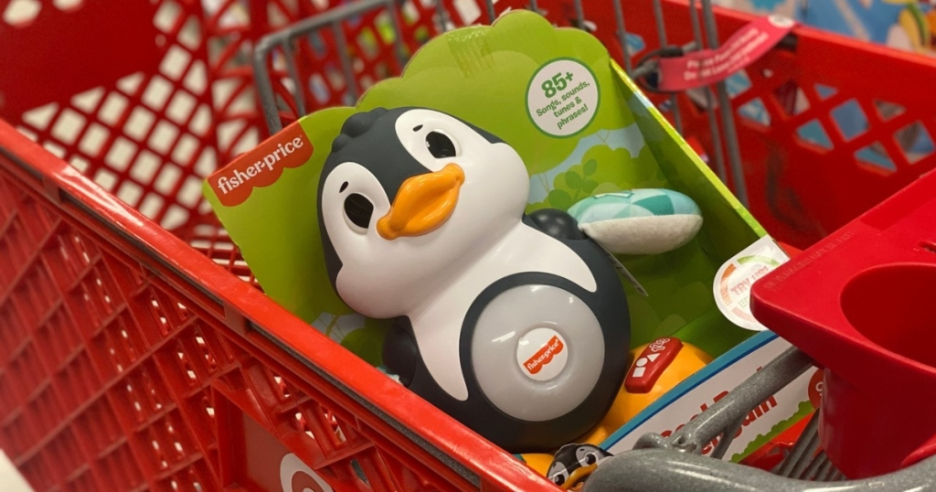 musical penguin toy in Target cart