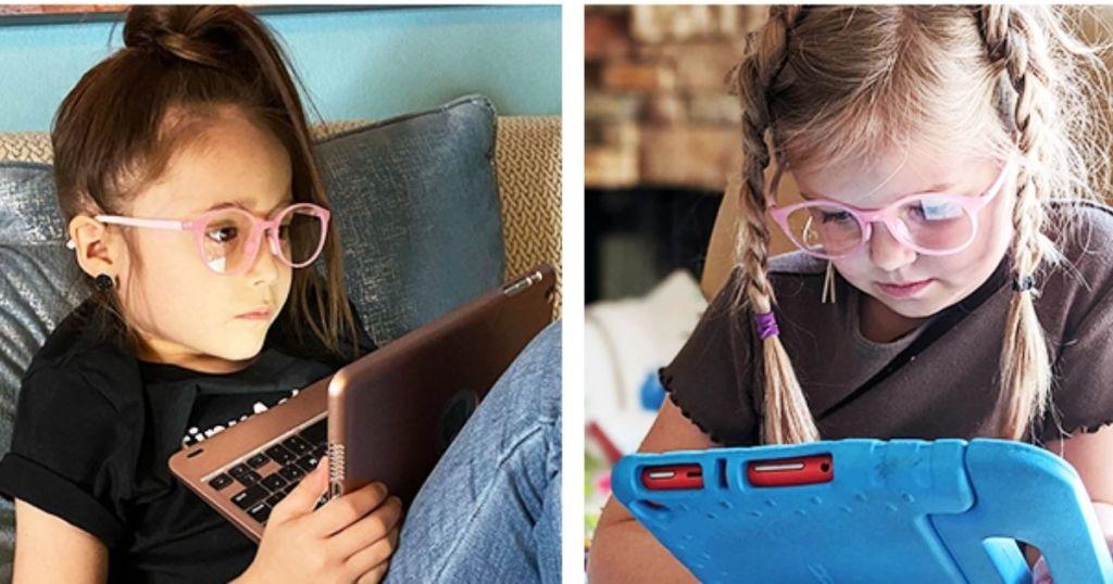 kids wearing pink glasses