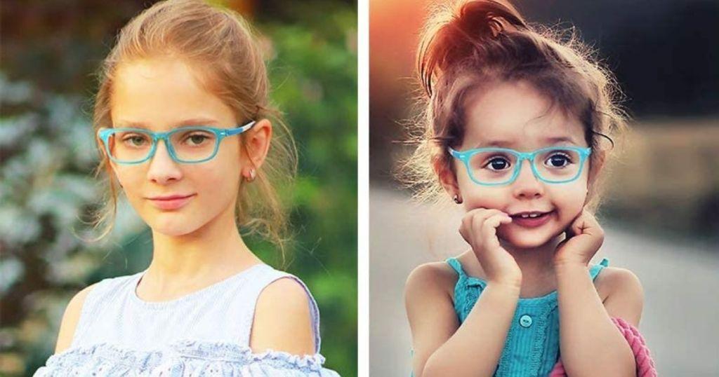 kids wearing blue light glasses