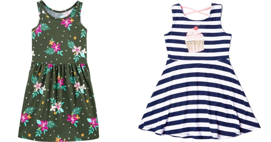 kids glower dress and ice cream striped dress