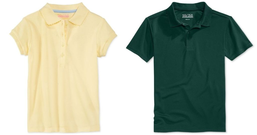 yellow and green kids polos