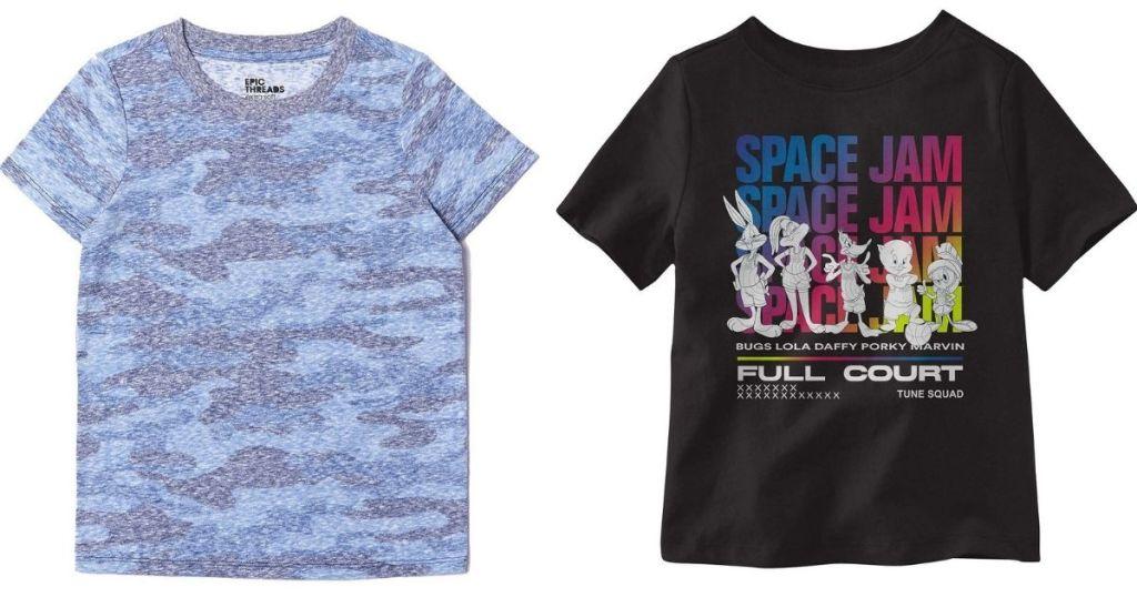 kids camo tee and Space Jam tee