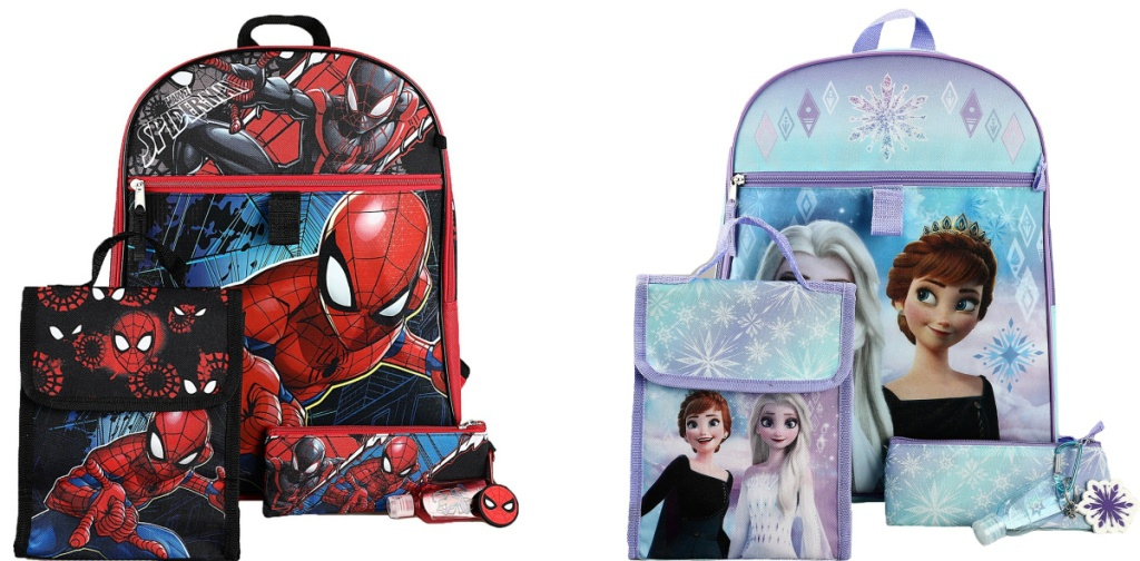 Spider-Man and Frozen backpack sets