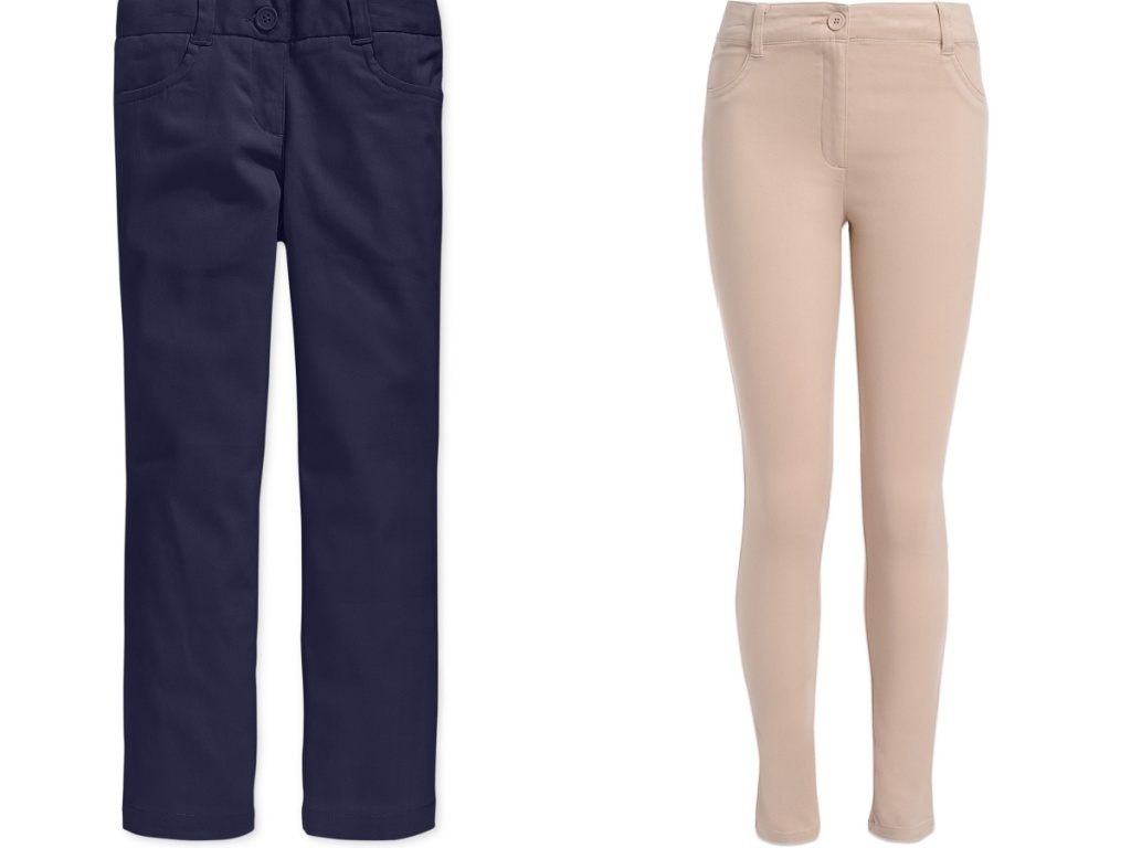 navy and tan uniform pants