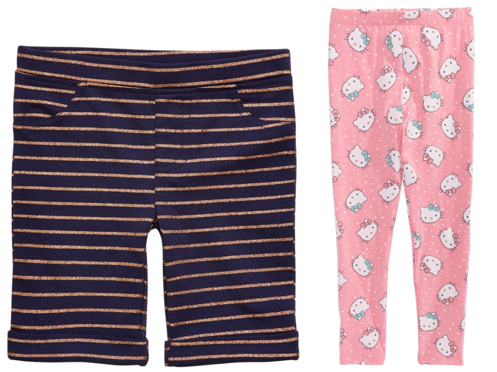 kids striped shorts and Hello Kitty leggings