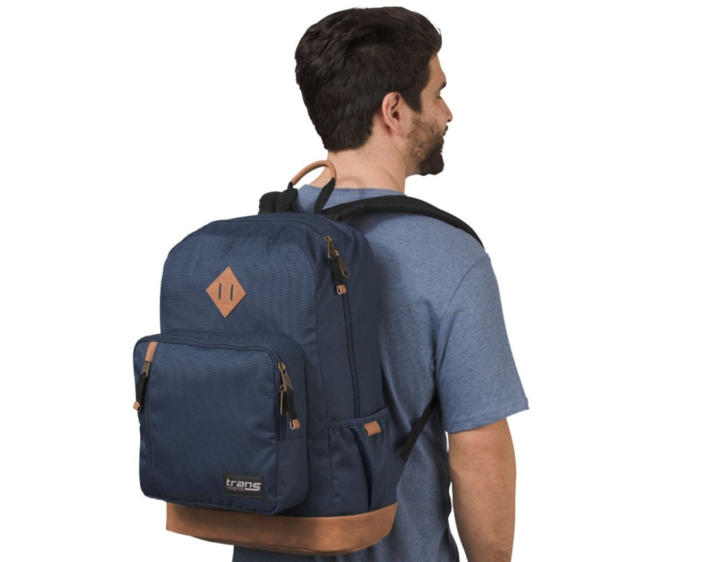 Man wearing blue backpack