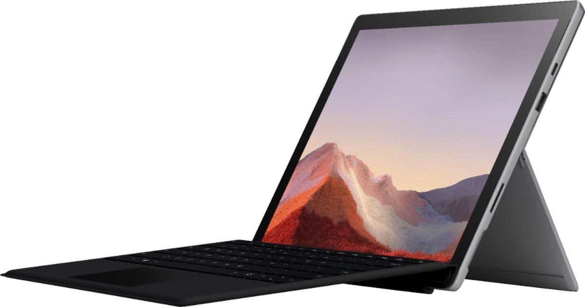 mircrosoft surface pro set out as a laptop
