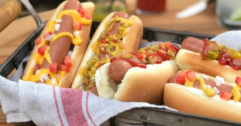 hot dogs in a basket