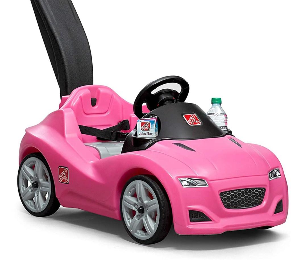 pink kids push car