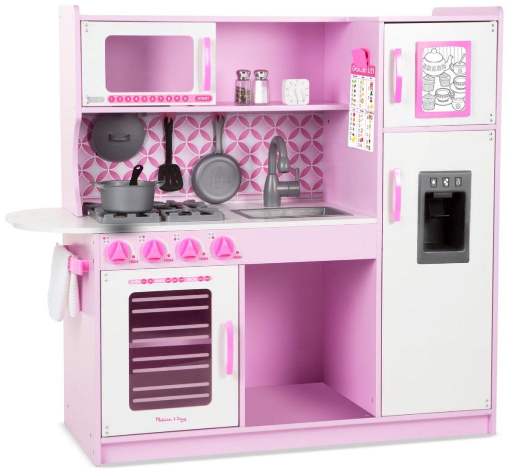 pink kids play kitchen set
