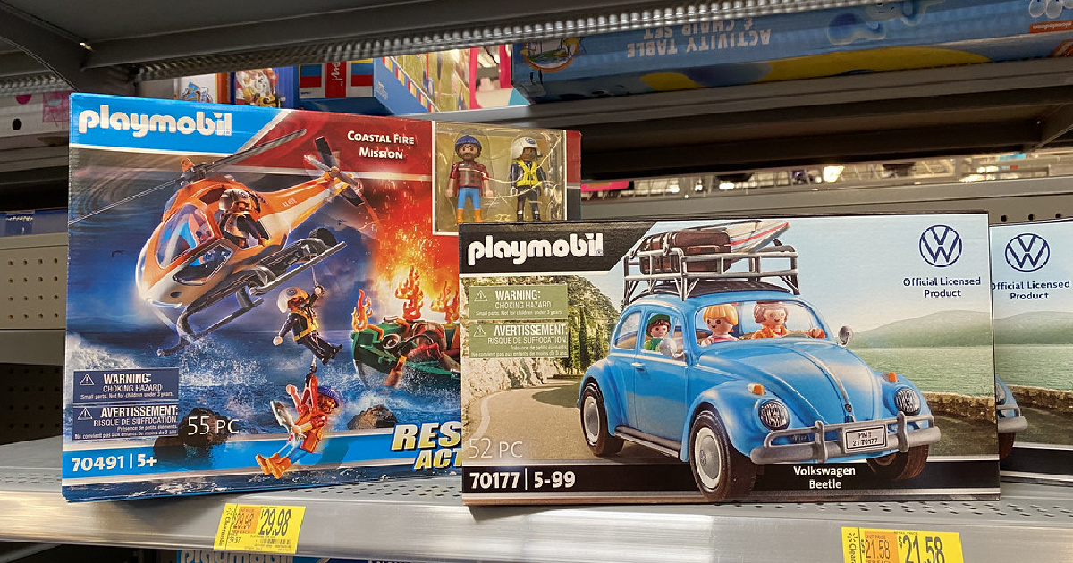 playmobil sets in packaging on a store shelf
