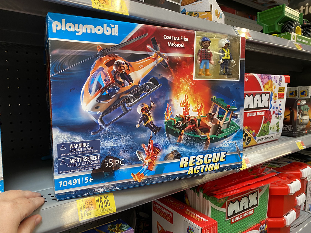 playmobil rescue playset in box on store shelf