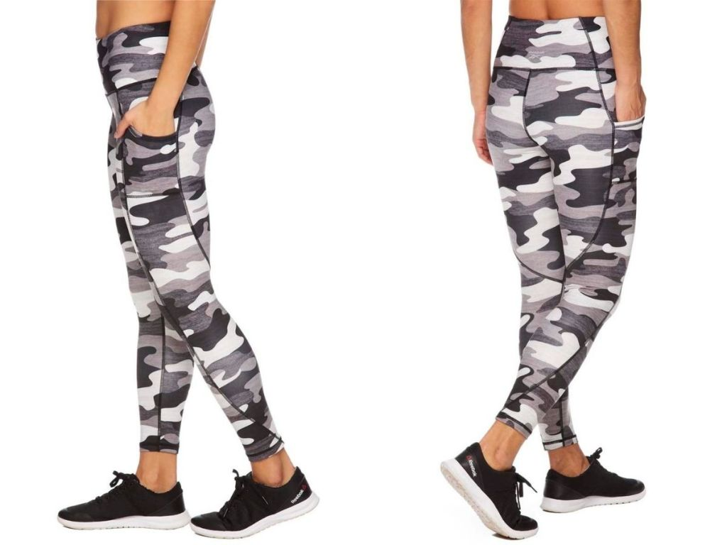 side and back views of black and white camo leggings